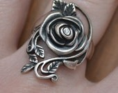 HOLD Beautiful antique art deco vintage style sterling silver rose ring with rhinestone / bridal / edwardian / KBWKIA