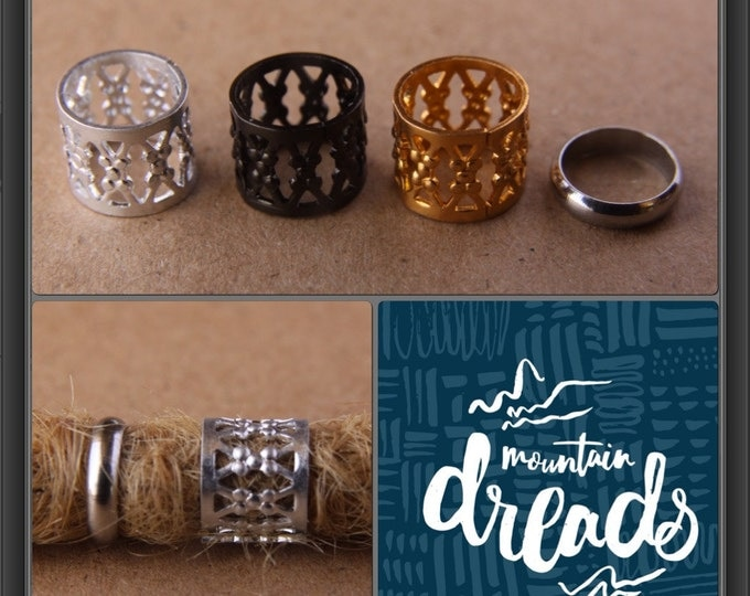 10mm (0.39in) Hole Filigree Dreadlock Cuffs Dread Hair Beads & FREE Stainless Steel Ring Bead