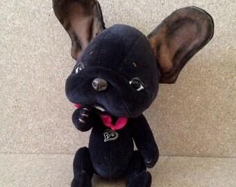 Black french bulldog, teddy dog, Artist teddy bears, OOAK handmade bear,  jointed bear