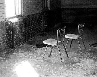 Chairs at Manteno State Hospital, Manteno, Illinois - Abandoned Asylum Black and White Photography Print