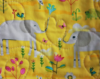 Elephant Wholecloth Quilt, Baby Blanket, Cheerful Yellow and Blues with Heart binding, Playmat, Snuggle blanket