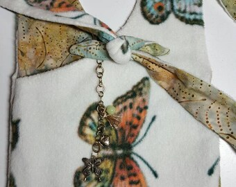"Crossbody Bag  Reversible ""BUTTERFLIES"" Washable Criss-Cross Purse Boho with Keychain / Bagcharm"