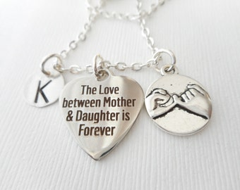 The Love Between Mother and Daughter is Forever, Pinky Promise- Initial Necklace/ Personalized name, Stepmom Gift, mom jewelry, moms initial