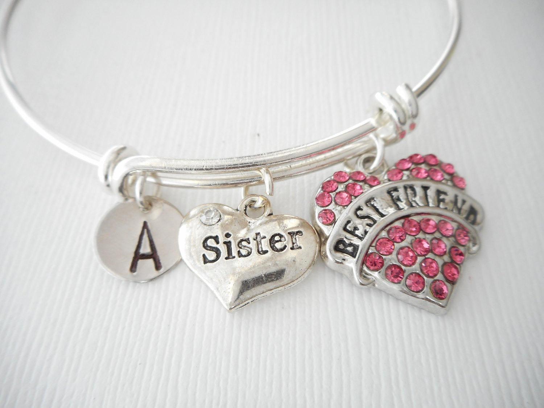 Sister Best Friend Initial Bangle Sister Bracelet Gift From