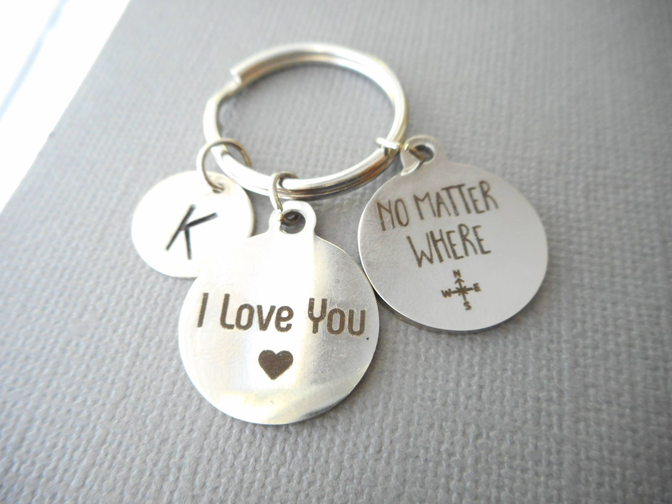 I love you no matter where initial keychain gift for girlfriend i love you no matter where initial keychain gift for girlfriend birthday negle Choice Image