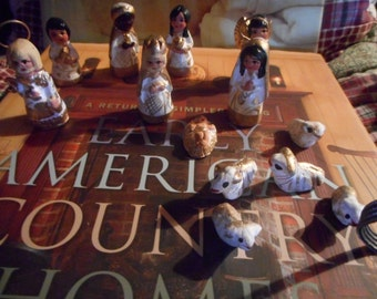 Hand carved Mexican nativity set 13 pieces in all, Miniature, classy, classic, adorable 2 inch miniature