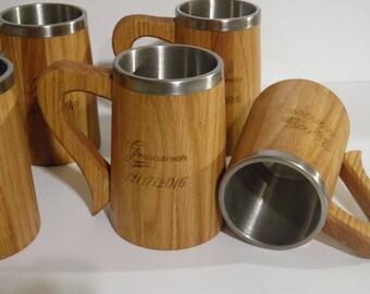 10 Wooden Beer mugs , 0,5 l, cheap shipping,Custom engraving, natural wood, stainless steel inside,groomsmen gift, n43