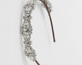 Bridal headpiece -Vintage tiara,  tiara ,  bridal headdress wedding tiara - Bridal headpiece - crystal wedding headpiece - forehead band
