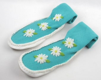 Soft Leather Mukluk Slippers - Womens Size 7 - White Leather Bottoms - Super Soft Moccasins - Original Muk Luks by Handcraft
