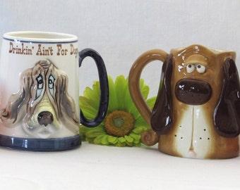 Comical Rasied Relief Dog Mugs - Vintage Ceramic Coffee Cups - Steins - Anthropomorphic Drinkware - Kitchen - Raised Relief Bar Decor