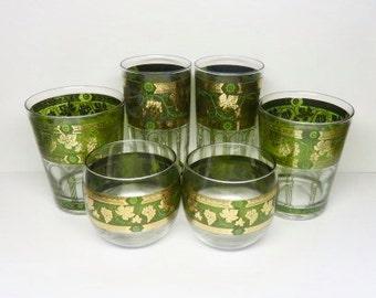 "Cera Glassware/Barware ""Golden Grapes"", Mid Century Hollywood Regency Set of 6"