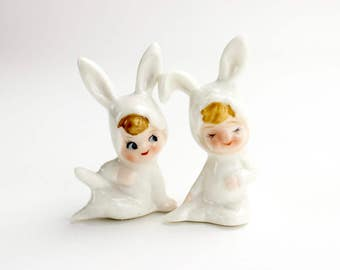 Vintage White Rabbit Figurines, Bunny Suits, Treasure Master Bone China Rabbit Easter Bunnies Pixies Figurines, Epsteam