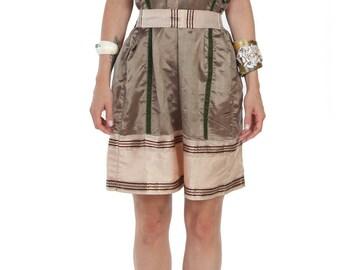 Silk Dress With Belt // Boho Dress Summer Dress // Gold Silk and Green Velvet // Cocktail Dress