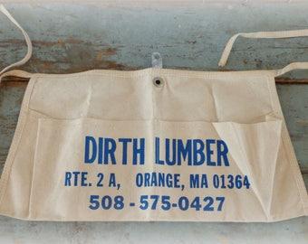 vintage hardware store apron / carpenters apron / lumber apron / advertising apron / craft supply / canvas fabric / craft supply aprons