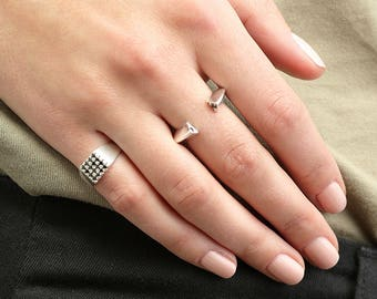 Size 5 ring, Black Crystal Pinky Ring, Crystal Signet Ring, Pinky Signet Ring, Black Pinky Ring Women, Silver Signet Ring, Minimalist Ring