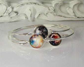 Galaxy Bracelets - Stacking Bangles Set - Stackable Bracelets - Nebula Jewelry