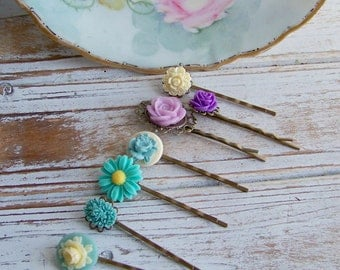 Set of 7 Flower Cabochon Bobby Pins, Bobby Pins, Hair Accessories, Hair Bobby Pins, Embellished Bobby Pins, Floral Cabochons, Flower Pins