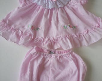 Vintage Tiny Tots Originals pink dress and bloomers, size 6-9 months