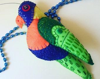 Hand Embroidered Rainbow Lorikeet Felt Plushie Ornament ~ Made To Order