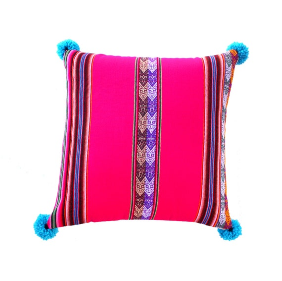 Pillow COVER,  Peruvian textile, hot pink, pom poms