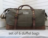 Mens Canvas and Leather Weekender Duffle Bag with Monogram Set of 6