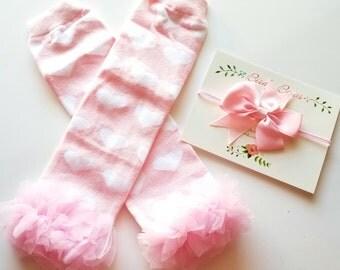 Pink Heart Leg Warmers, Headband Set, Baby Leg Warmers, Infant Leg Warmers, Legwarmers, Ruffle Leg Warmers