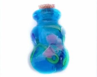1 handmade murano style glass lampwork flower perfume corked bottle charm-#12