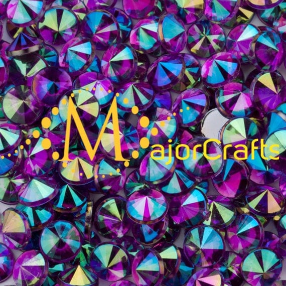 Dark Purple AB Flat Back Pointed Rivoli Acrylic Rhinestones Embellishment Gems - C10