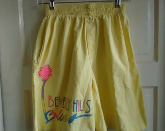 Vintage 80s BEVERLY HILLS Blues Cotton High Waist Shorts sz M/L
