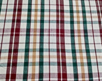 """Vintage Red, Green, and Gold Plaid Tablecloth - 46"""" SQUARE"""