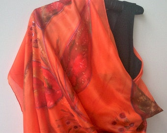 Silk Wrap, Extra Large Hand Painted Orange Silk Shawl. Foulard 100% Silk. Orange and Terracota écharpe 35 by 70 in Painted by Artist, ETSY
