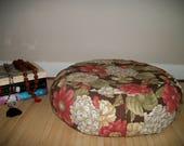 Meditation Cushion. Zafu. Round Floor Pillow. Buckwheat Hulls. Brown/Rose Floral Print cotton fabric. 15 x 5. Sidewall Zipper. Handmade, USA