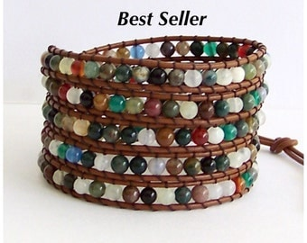Leather Wrap Bracelet - Fancy Jasper, Agate Semi-Precious Stone, light Brown Leather - Boho Chic