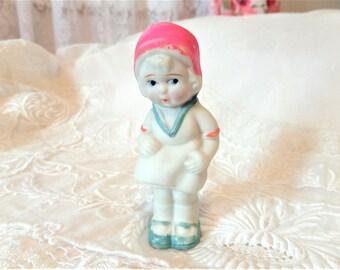Vintage Bisque Penny Doll Doll Pink Hat
