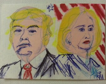 sale aceo OPPOSED original collage kimartist man woman modern politics political pop yellow pink red white blue sfa ows ooak