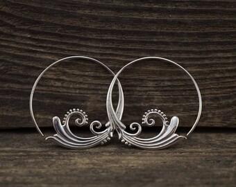 Sterling Silver Hoop Earrings - silver hoops - gypsy hoops -  Flourish- Solid Silver- medium hoops