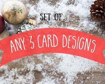 Set of 3, Christmas Cards, Meme Holidays Cards, greeting cards, funny cards, hipster xmas, watercolor art, husky, fox hedgehog, bear,bulldog
