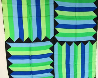 Vintage Silk Scarf Echo 1950 Graphic Chevron Stripe Silk Scarf 31""