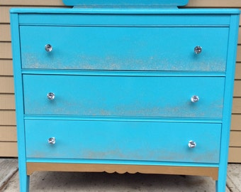 Breakfast at Tiffany's Vintage Dresser & Mirror Tiffany Blue PICKUP ONLY