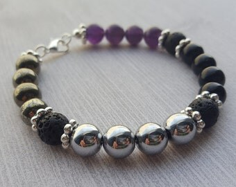 Gemstone Bracelet, Empath Protection, Energy Shield, Natural Healing, Aromatherapy, Essential Oils