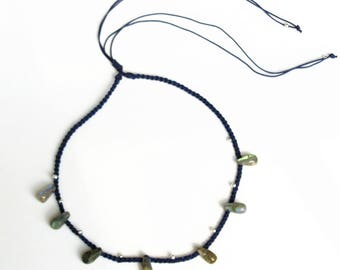 "100% natural gemstone labradorite water drop 925 sterling silver 2-way necklace bracelet handmade jewelry 16"" to 28"""""