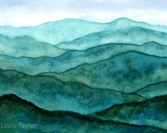 Blue Ridge Mountains Watercolor Giclee Print