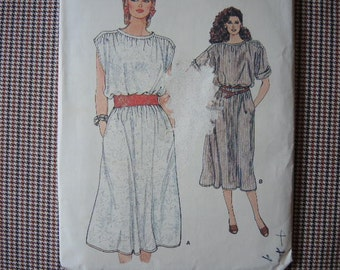 vintage 1980s vogue sewing pattern 8971 misses loose fitting A line pullover dress size 14-16-18