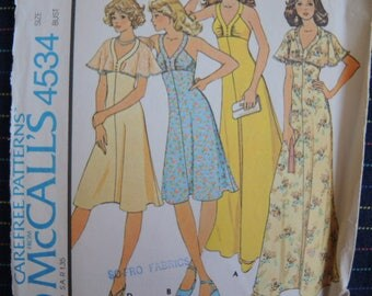 vintage 1970s McCalls sewing pattern 4534 misses high waisted dress size 12