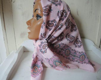 Vintage pastel pink paisley polyester or acrylic scarf 31 x 31 inches