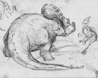Tricertops 003 -Print of my original Sketchbook page