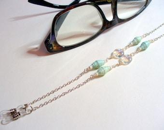 Paper Beaded Eyeglass Holder, Aqua Blue Paper Bead Eye Glass Chain, Eyeglass Necklace Holder, Sunglass Chain, Lanyard, Seafoam, Silver