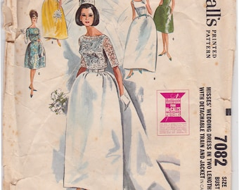 "60s Bust 31"" Misses' Wedding Dress in 2 Lengths Detachable Train & Jacket Vintage Sewing Pattern [McCalls 7082] Size 10, Most Uncut"