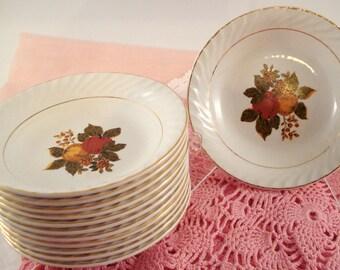 Vintage Wedding Berry Bowls Enoch Wedgwood Tunstall England English Harvest Fall Motif Set of 12 Vintage Bridal Shower