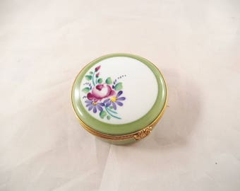 Limoges Round Hinged Trinket Box, Hand Painted Floral Top, Mint Condition